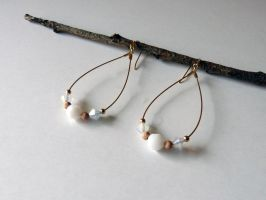 White and rose gold earrings by Lady-Kiwi
