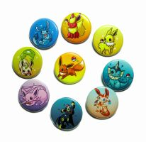 Eevelutions button set updated by michellescribbles