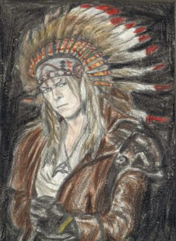 King Jareth wearing a feather bonnet by gagambo