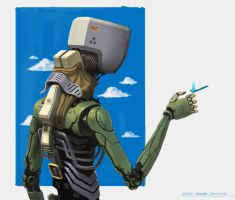 Droid With Butterfly by qci