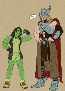Thor and She Hulk by pietro-ant
