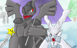 Zekrom and Reshiram - Couple in blizzard in Japan by TermFox