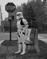 Storm Trooper at the bus stop by JediSeeker1