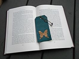 Blue Leather Musical Note Butterfly Bookmark by random-wish