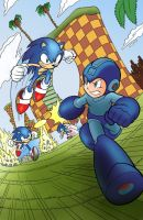 Sonic VS Mega Man - Page Coloring by gallorafael