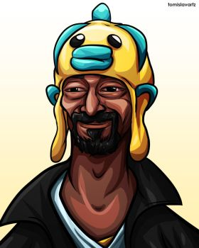 Snoop Dogg wearing a Fish on his Head by TomislavArtz