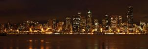 Skyline of Seattle at night by kdiff3