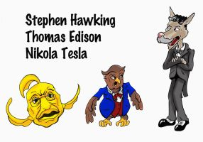 Hawking-Edison-Tesla Character Ideas by Joe5art
