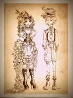 Steampunk teens by Mirrei