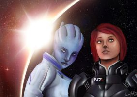 Shepard and Liara by Striped-Stocking