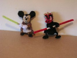 Mickey Mouse (Jedi) and Donald Duck (Sith) by fuzzyfigureguy