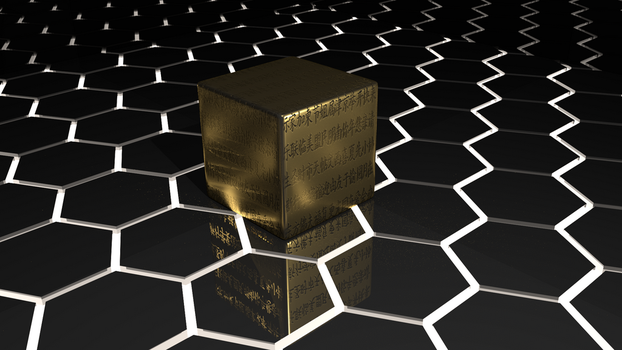 Metal Cube on Black Plastic1 by ignorance007