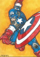 Captain America Sketch Card by chicagogeekdad