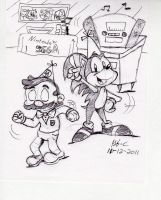 Mario and Sonic...PARTY TIME by spongefox