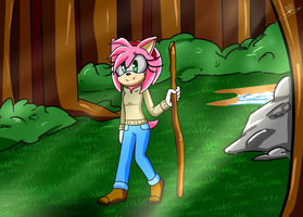 :Comm: Amy Rose walking in the forest by GsSKY