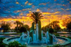 Vibrant Sunrise Fountain HDR Wide by eanimusic