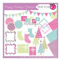holiday scrapbook kit - clip art set by pinkfoxdesign