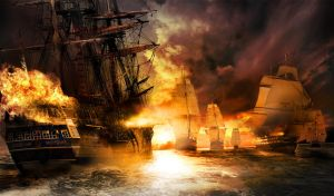 Epic battle at sea by stevegraphicdesign