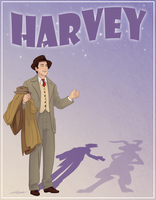 Elwood P. Dowd and Harvey by DJCoulz