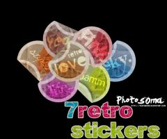 7 Retro stickers -PNGs- by photosoma