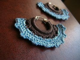 Crochet Earrings Brown + Blue by SusanClinkscales