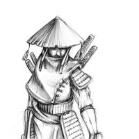The hooded samurai by Delun