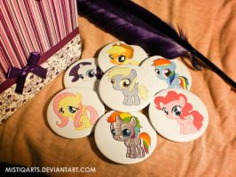 My little pony chibi badges finaly DONE by Mistiqarts