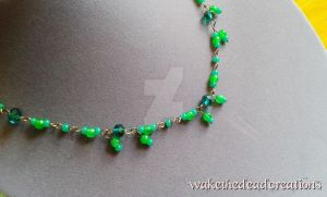 Simple teal and green necklaceWTD1 by aisforgrlsnamedamber