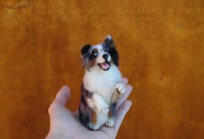 Needle Felted Australian Shepherd by amber-rose-creations