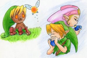 Link and zelda ocarina of time/majora's mask by kirby-kta-tsuki