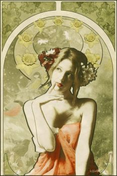 Tribute to Alfons Mucha-Spring by greenfeed