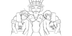 Lineart of family photo of Uncle Sam and nephew by highkickfan