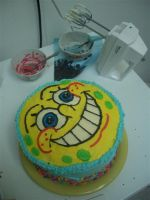 SpongeBob cake by estranged-illusions