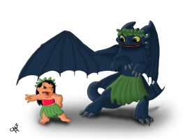 Lilo and Toothless by Mohegan567