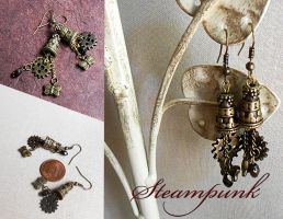 Steampunk Charm Earrings by random-wish