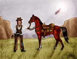 Outlaw Trail Portrait - coloured by Faejala