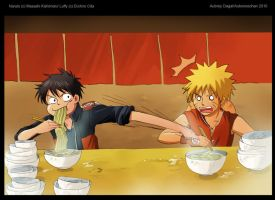 Luffy vs. Naruto by msadagal