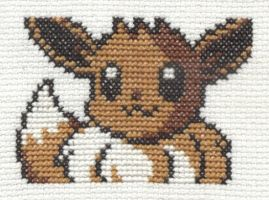 Pokemon Pinball Eevee cross stitch by Lil-Samuu