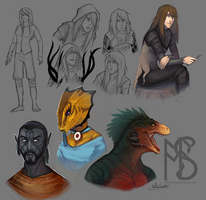 Some Elder Scrolls sketches by Serpentwined
