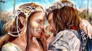 Aragorn and Arwen by lilhydra