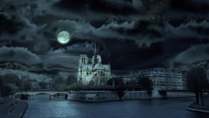 Notre Dame by moonlight by myjavier007