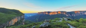 Cliffs of Red  - Panorama of Pearce's Pass by MarkLucey