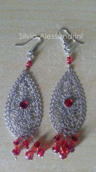 Red beads earrings by SilvieTepes