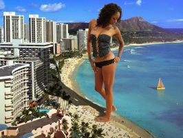 giantess in waikiki by lowerrider