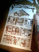 Dolls House - large original cut by PaperPandaCuts