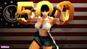 Connie Flexes for 500 Watchers by GenSamus