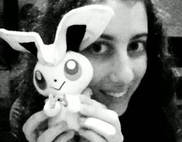 Me and my new plushie Victini~Gift! by LadyEdile