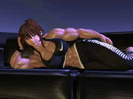 Even muscle girls need to relax! by Muscle-girl-Sakura