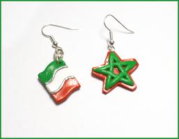 Italy and Morocco Flags earrings commission by CookingMaru