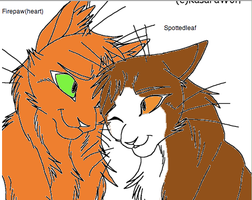 Firepaw(heart)xSpottedleaf by WarriorCatLuver123